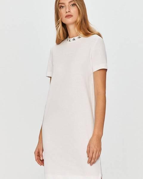 Bílé šaty calvin klein jeans