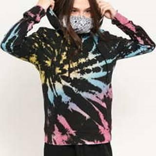 Ladies Tie Dye Hoody černá / multicolor XL