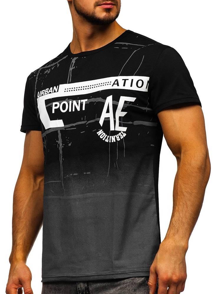 J.STYLE Černé pánské tričko s potiskem