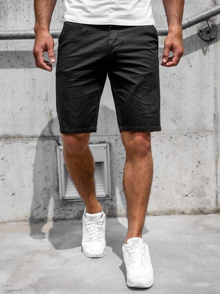 NATURE Černé pánské džínové kraťasy