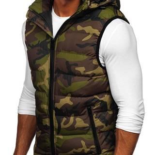 Khaki pánská prošívaná vesta s kapucí