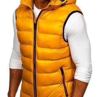 Žlutá pánská prošívaná vesta s kapucí