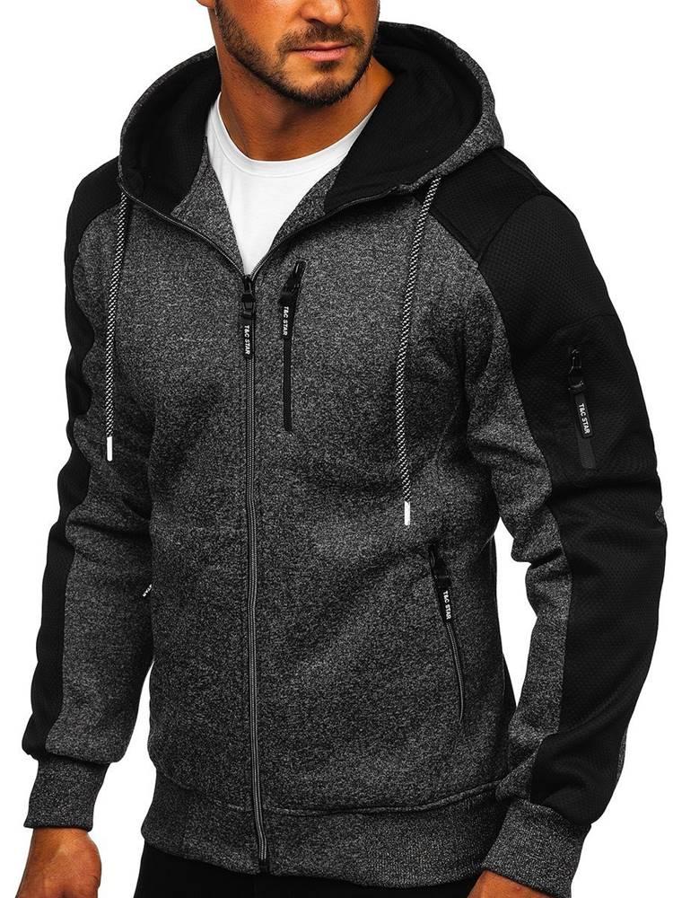 T&C STAR Černá pánská mikina na zip s kapucí
