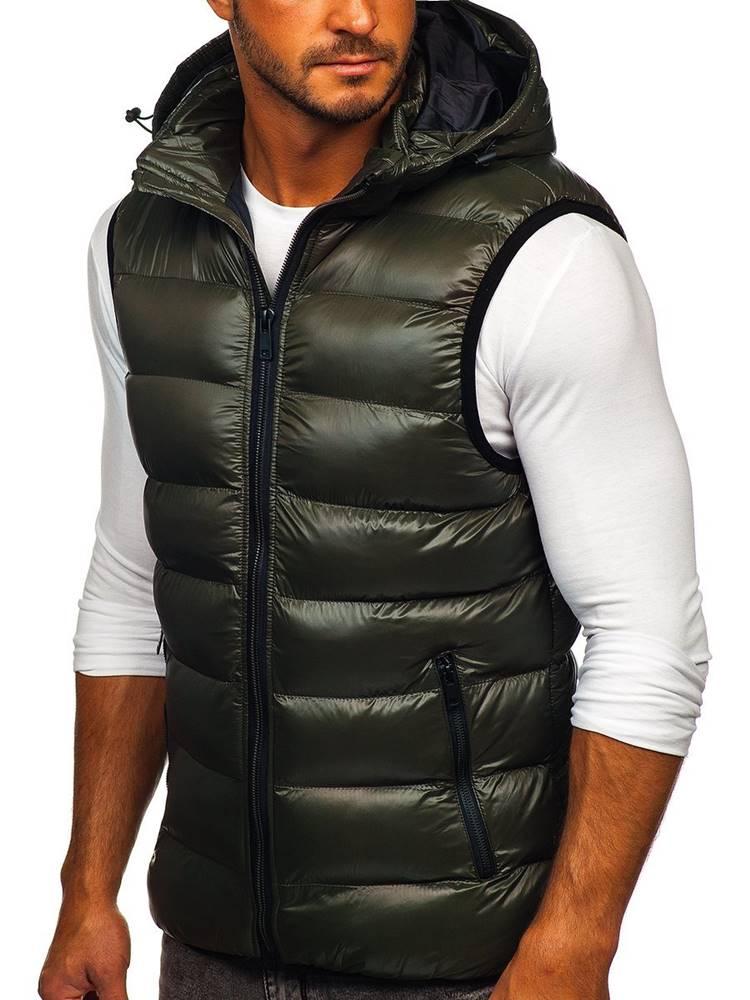 NATURE Zelená pánská prošívaná vesta s kapucí
