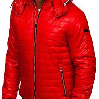 Červená pánská prošívaná přechodová bunda