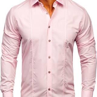Růžová pánská elegantní košile s dlouhým rukávem