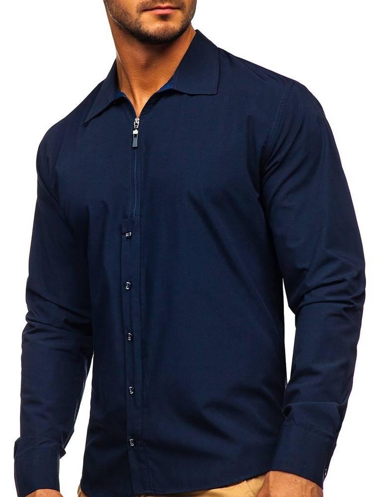 BOLF Tmavě modrá pánská košile s dlouhým rukávem