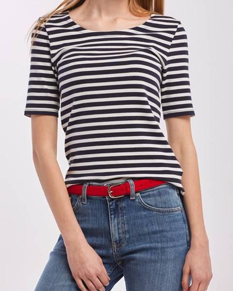 gant Tričko  Striped 1X1 Rib Ss T-Shirt
