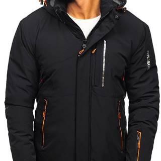 Černo-oranžová pánská zimní lyžářská bunda