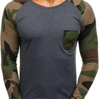 Antracitové pánské tričko s dlouhým rukávem a potiskem