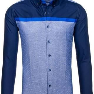 Pánská tmavě modrá vzorovaná košile s dlouhým rukávem