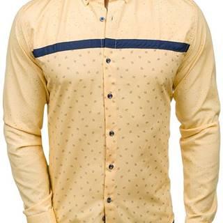Pánská žlutá vzorovaná košile s dlouhým rukávem