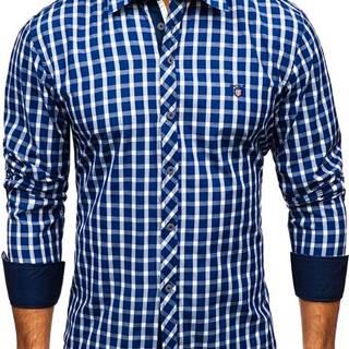 Tmavě modrá elegantní pánská kostkovaná košile s dlouhým rukávem
