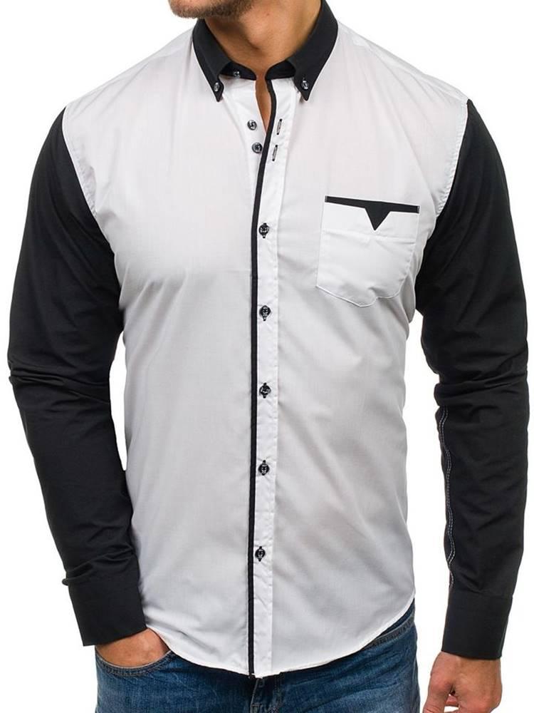 BOLF Bílá pánská elegantní košile s dlouhým rukávem