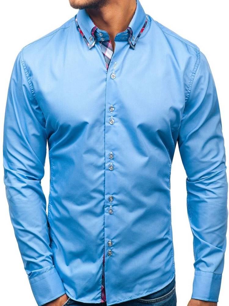 BOLF Blankytná pánská elegantní košile s dlouhým rukávem