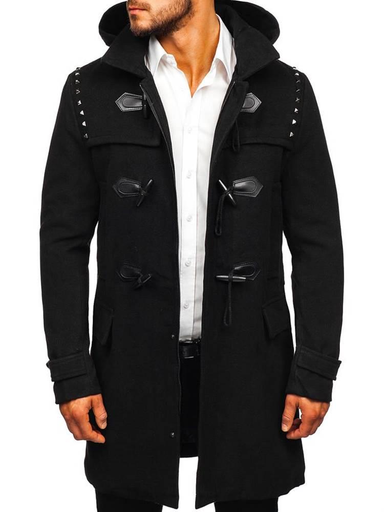 X-FEEL Černý pánský zimní kabát