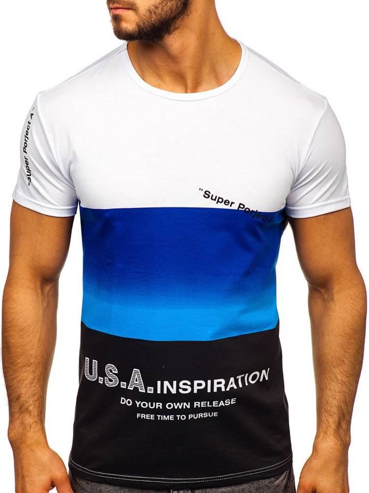 J.STYLE Modré pánské tričko s potiskem