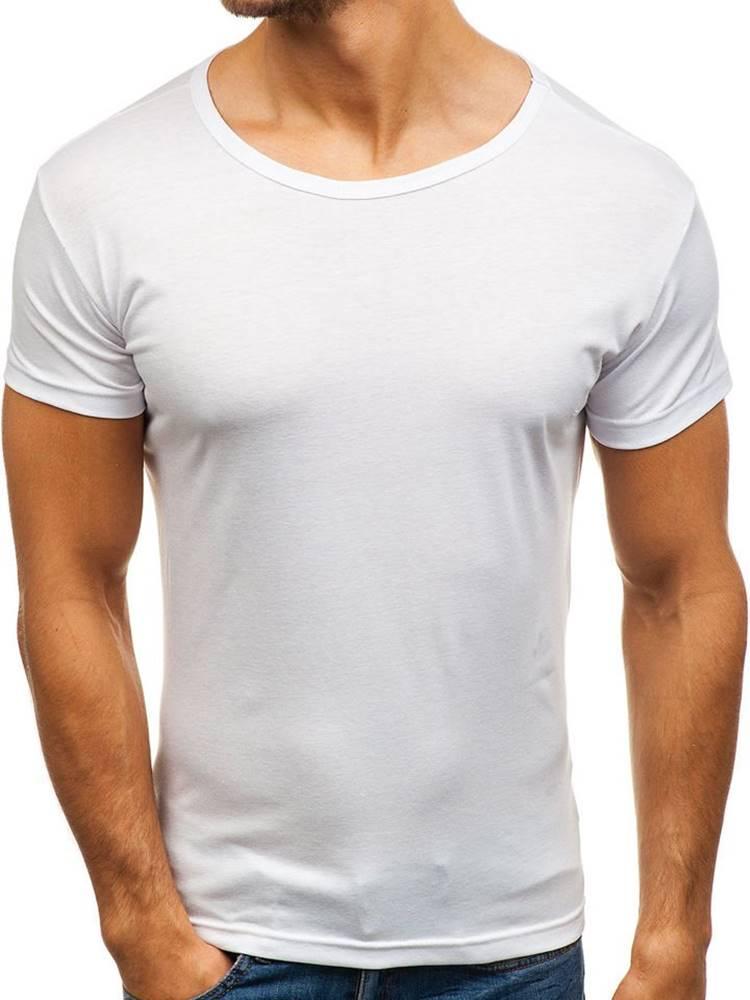 J.STYLE Pánské bílé tričko bez potisku