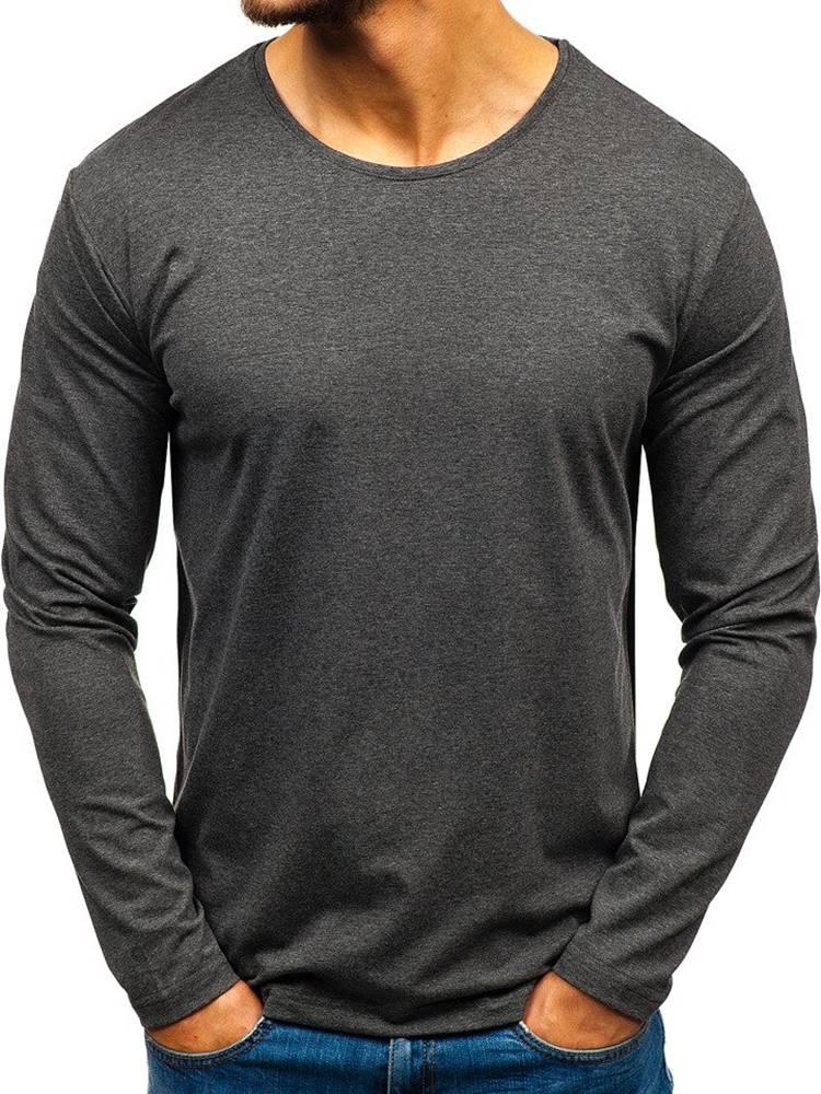 RWX Antracitové pánské tričko s dlouhým rukávem bez potisku