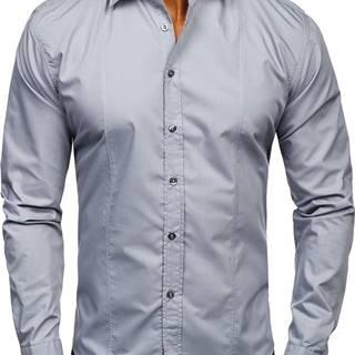 Šedá pánská elegantní košile s dlouhým rukávem
