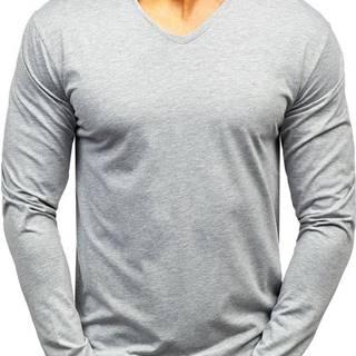 Šedé pánské tričko s dlouhým rukávem bez potisku