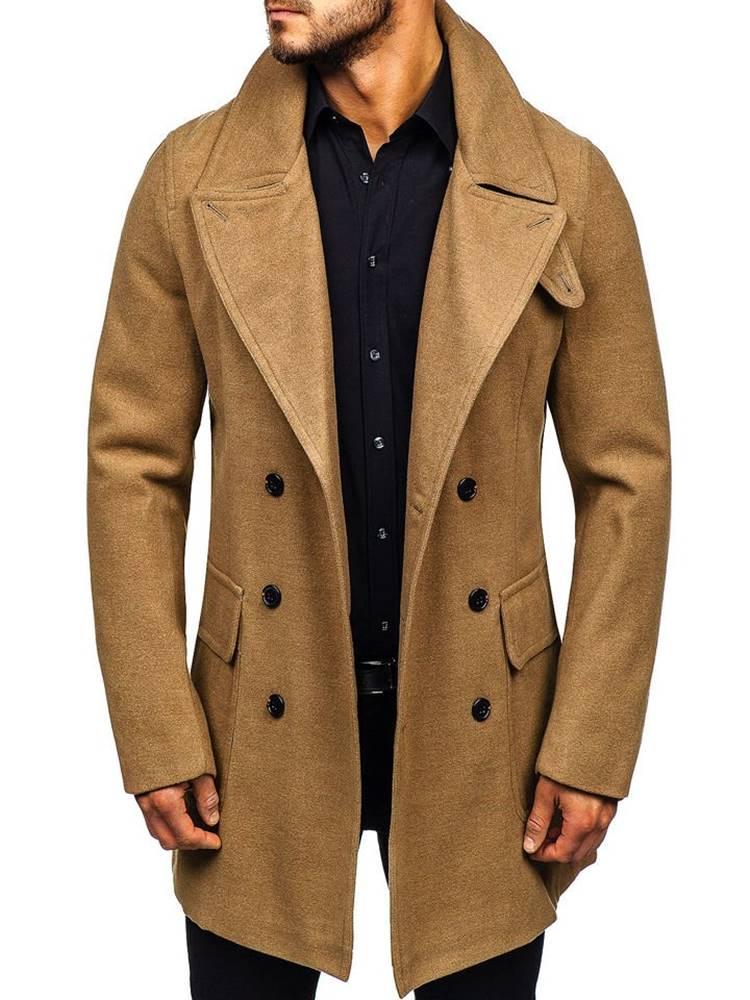 Camelový pánský zimní kabát