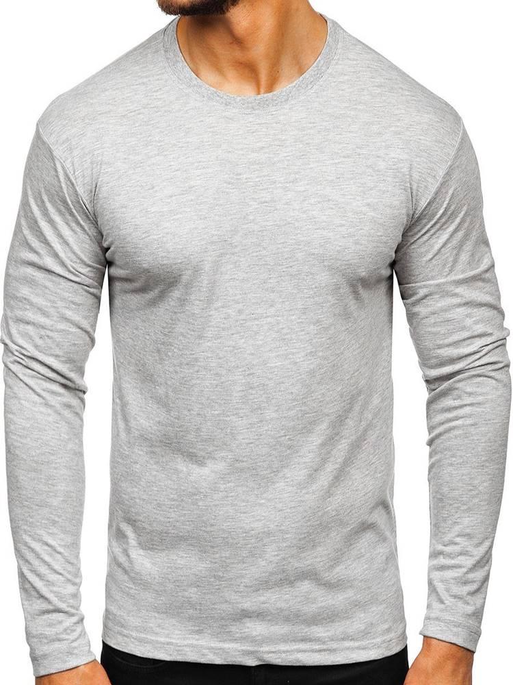 EZDICORNE Šedé pánské tričko s dlouhým rukávem bez potisku