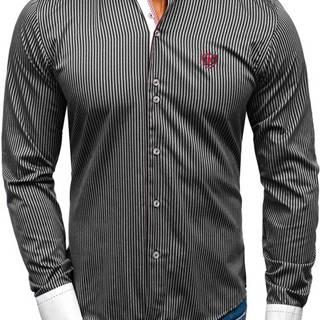 Černá elegantní pánská proužkovaná košile s dlouhým rukávem