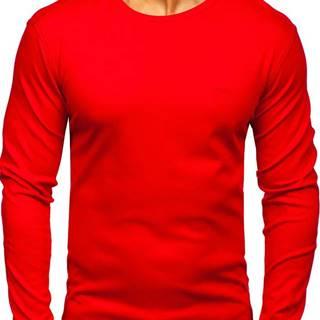 Červené pánské tričko s dlouhým rukávem bez potisku