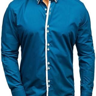 Modrá pánská elegantní košile s dlouhým rukávem