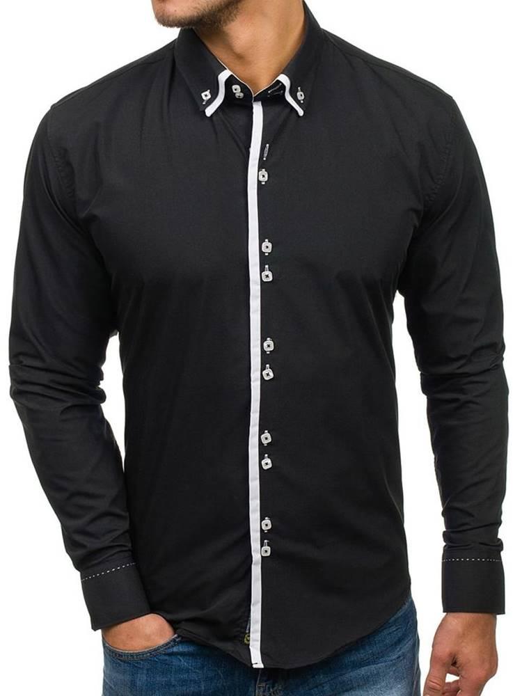BOLF Černá pánská elegantní košile s dlouhým rukávem