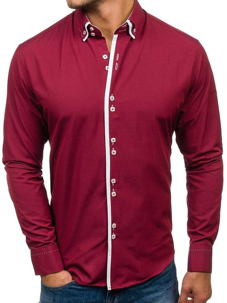 BOLF Vínová pánská elegantní košile s dlouhým rukávem