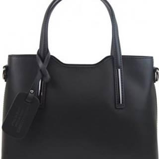Borse In Pelle Kabelky Kožená černá dámská kabelka do ruky Maila Černá