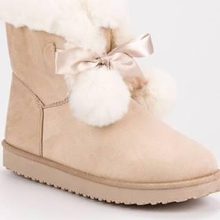 Pk Zimní boty Trendy dámské hnědé sněhule bez podpatku ruznobarevne