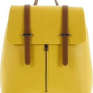 Italy Batohy Dámský kožený batoh žluto hnědý - Waterfall Žlutá