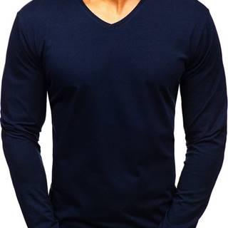 Tmavě modré pánské tričko s dlouhým rukávem bez potisku