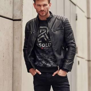 Černá pánská koženková bunda biker