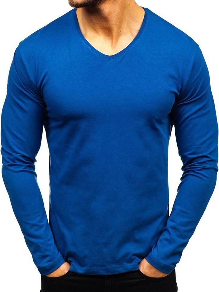 RWX Indigo pánské tričko s dlouhým rukávem bez potisku