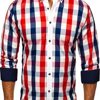 Červená pánská kostkovaná košile s dlouhým rukávem