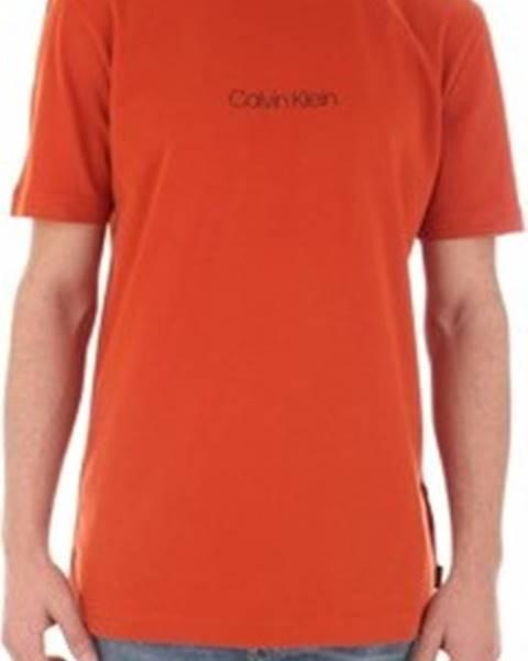 Oranžové tričko calvin klein jeans