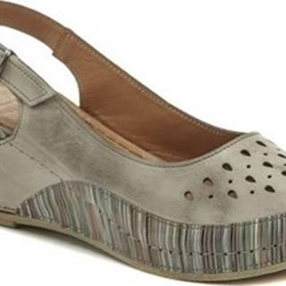 Karyoka Sandály 1501 béžové dámské sandály na klínku