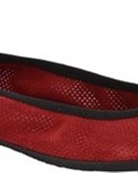 Červené baleríny Leonardo Shoes