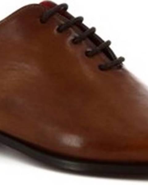Hnědé polobotky Leonardo Shoes