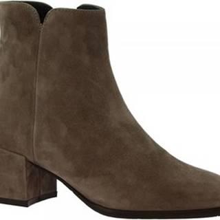 Leonardo Shoes Kotníkové kozačky 4690E CAM TAUPE
