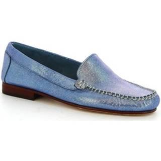 Leonardo Shoes Mokasíny 318 WOODY Modrá