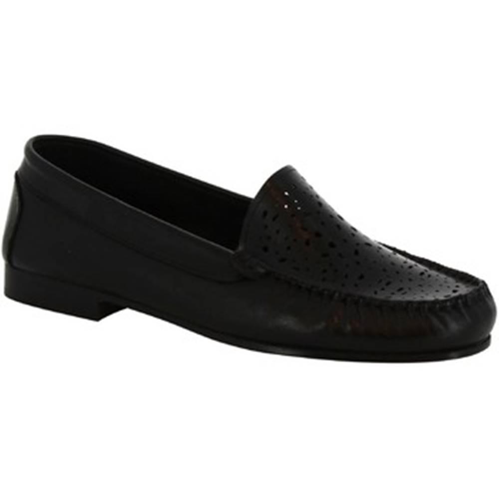 Leonardo Shoes Leonardo Shoes Mokasíny 5026 VITELLO NERO Černá
