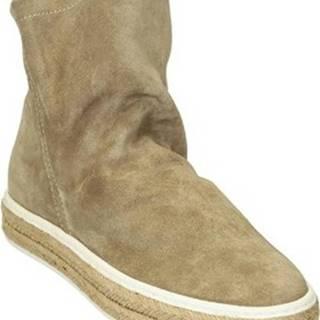 Leonardo Shoes Kotníkové kozačky 309/1 SCAMOSCIATO CORDA Béžová