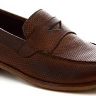 Leonardo Shoes Mokasíny 2580/1 BUFALO CUOIO Hnědá