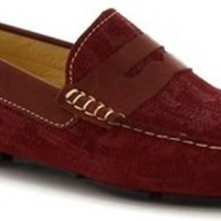 Leonardo Shoes Mokasíny 504 NIAGARA CRUST BORDEAUX Červená