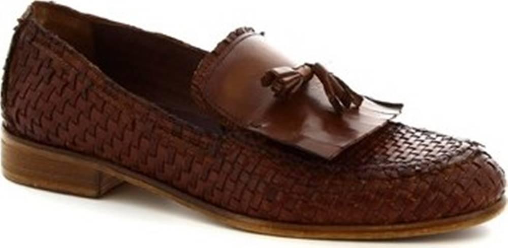 Leonardo Shoes Leonardo Shoes Mokasíny 809/3 CUOIO INTRECCIATO Hnědá